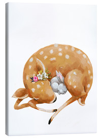 Canvastavla  Fawn and baby bunny - Kidz Collection