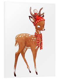 PVC-tavla  Winter deer with scarf and hat - Kidz Collection