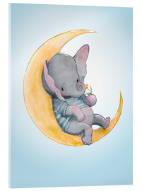 Akrylglastavla  Elephant in the moon - Kidz Collection