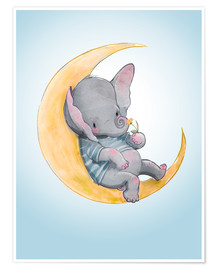 Poster  Elephant in the moon - Kidz Collection