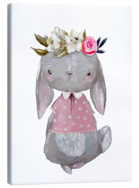 Canvastavla  Summer bunny with flowers in her hair - Kidz Collection