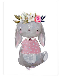 Premiumposter Summer bunny with flowers in her hair