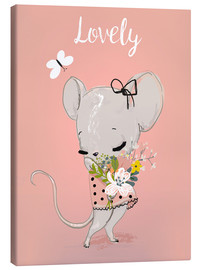 Canvastavla  Little mouse on pink - Kidz Collection