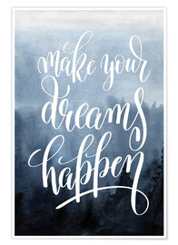 Poster  Make your dreams happen - Typobox