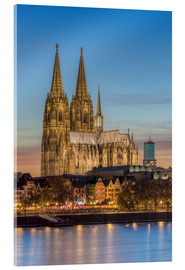 Akrylglastavla  The Cologne Cathedral in the evening - Michael Valjak