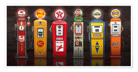 Premiumposter Vintage Gas Pumps