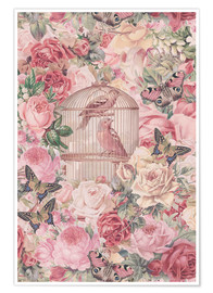 Premiumposter Vintage Bird Cage And Roses