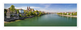Premiumposter Panorama Basel old town on the Rhine (Switzerland)