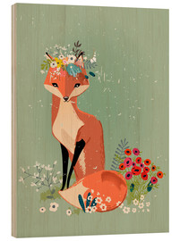 Trätavla  Fox in the spring - Kidz Collection