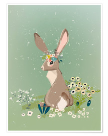 Premiumposter Rabbit with wildflowers