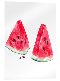 Akrylglastavla  watercolor slices of watermelon