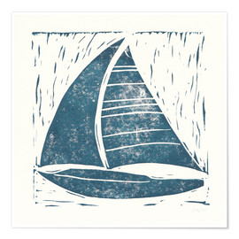 Premiumposter Sailing ship linocut on white IV