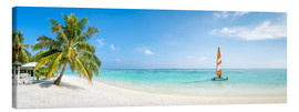 Canvastavla  Maldives beach panorama with sailboat - Jan Christopher Becke
