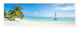 Premiumposter  Maldives beach panorama with sailboat - Jan Christopher Becke