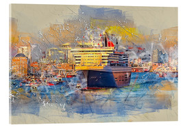 Akrylglastavla  Hamburg Queen Mary II, in the background the Elbphilharmonie - Peter Roder