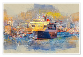 Premiumposter  Hamburg Queen Mary II, in the background the Elbphilharmonie - Peter Roder