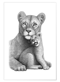 Premiumposter Lioness with her boy