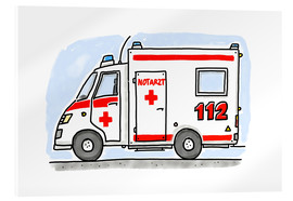 Akrylglastavla  Hugos ambulance - Hugos Illustrations