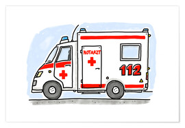 Premiumposter  Hugos ambulance - Hugos Illustrations