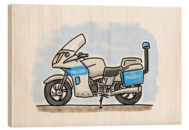 Trätavla  Hugos police motorcycle - Hugos Illustrations