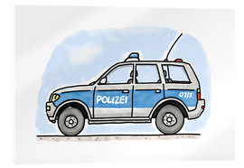 Akrylglastavla  Hugos German police car - Hugos Illustrations