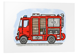 PVC-tavla  Hugos fire department emergency vehicle - Hugos Illustrations