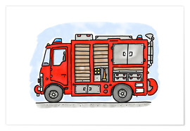 Premiumposter  Hugos fire department emergency vehicle - Hugos Illustrations