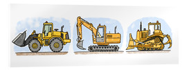Akrylglastavla  Hugos construction site 3-piece set - Hugos Illustrations