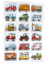 Akrylglastavla  All my cars - Hugos Illustrations