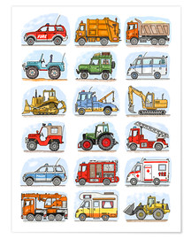 Poster  All my cars - Hugos Illustrations