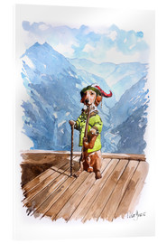 Akrylglastavla  Dachshund in the Alps - Peter Guest