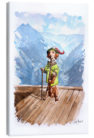 Canvastavla  Dachshund in the Alps - Peter Guest
