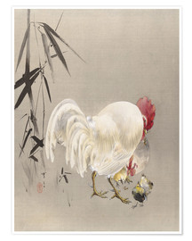 Premiumposter  Rooster and Hen with Chicks - Watanabe Seitei