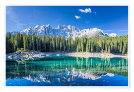 Premiumposter  Lago di Carezza in South Tyrol with Latemar mountains - Dieter Meyrl