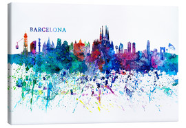 Canvastavla  Skyline BARCELONA Colorful Silhouette - M. Bleichner