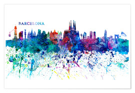 Poster  Skyline BARCELONA Colorful Silhouette - M. Bleichner
