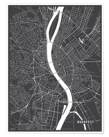 Premiumposter  Budapest Hungary Map - Main Street Maps
