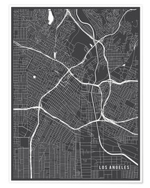 Premiumposter  Los Angeles USA Map - Main Street Maps