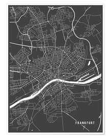 Premiumposter  Frankfurt Germany Map - Main Street Maps