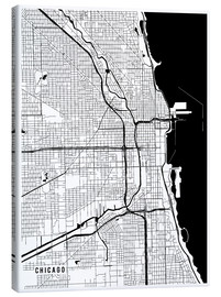 Canvastavla  Chicago USA Map - Main Street Maps