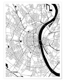 Premiumposter  Cologne Germany Map - Main Street Maps