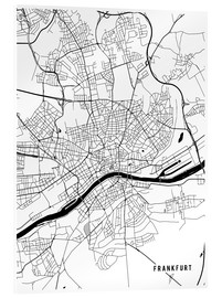 Akrylglastavla  Frankfurt Germany Map - Main Street Maps