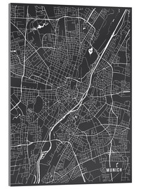 Akrylglastavla  Munich Germany Map - Main Street Maps
