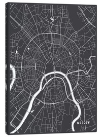Canvastavla  Moscow Russia Map - Main Street Maps