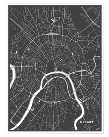 Premiumposter  Moscow Russia Map - Main Street Maps