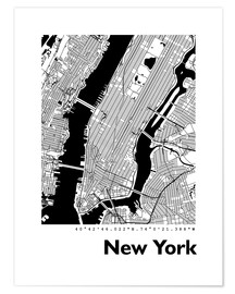 Premiumposter  City map of New York - 44spaces