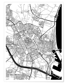 Premiumposter  Valencia Spain Map - Main Street Maps