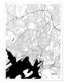 Premiumposter Oslo Norway Map