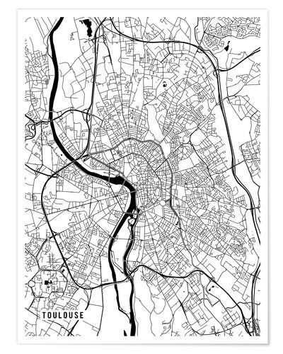 Premiumposter Toulouse France Map