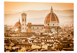 PVC-tavla  Cityscape with Cathedral and Brunelleschi Dome, Florence - Cubo Images